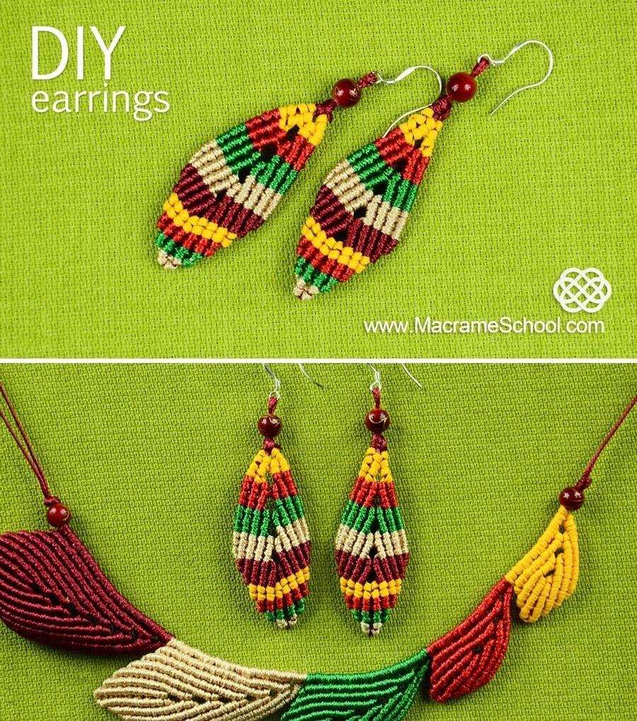 Macrame Leaf Earrings Tutorial