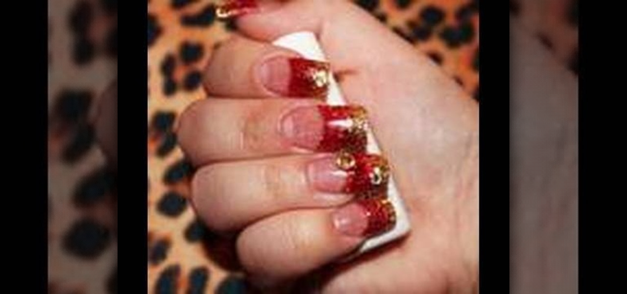 How To Create Red And Gold Acrylic Nails Manicure WonderHowTo