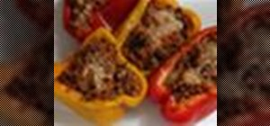 Make stuffed peppers packed with ground turkey, rice, tomato sauce & spinach