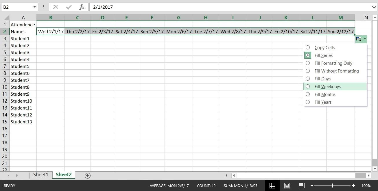 How to Create a Basic Attendance Sheet in Excel