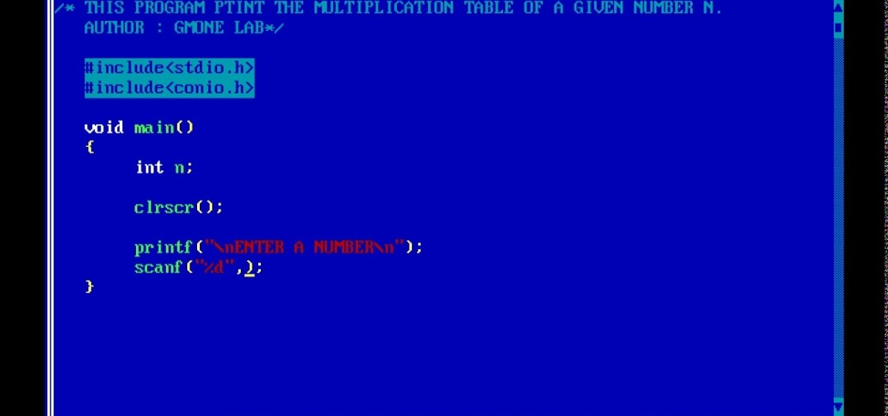 C Program To Print The Multiplication Table Of A Given Number N