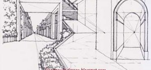 Draw an architectural complex levels street scene