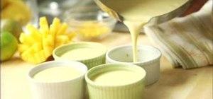 Make a delicious caramel flan with fresh mango topping