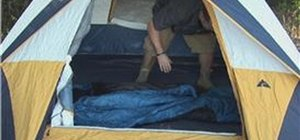 Set up a sleeping bags in a tent