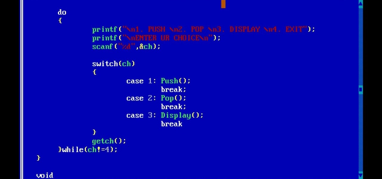 push and pop operation in stack in c program