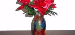 Make a recycled flower vase from a glass bottle