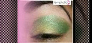 Apply gold and green eyeshadow