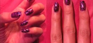 Apply a pink leopard print nail manicure
