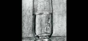 Draw a glass of water with charcoal and pencil