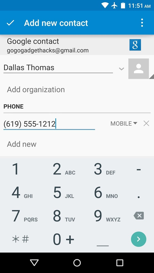 how to add contact in gmail android app