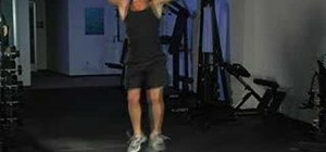 Work your legs with half twist jump squats