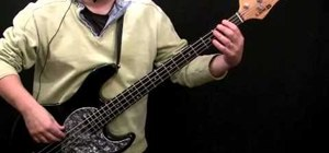 """Play """"Don't Look Back in Anger"""" by Oasis on the bass"""