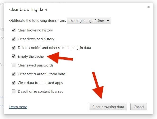 how to please clear the web browser cache