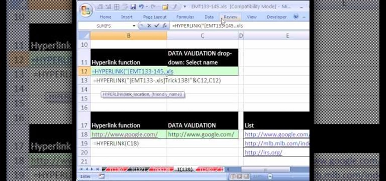 How to Create a list of hyperlinks in Microsoft Excel