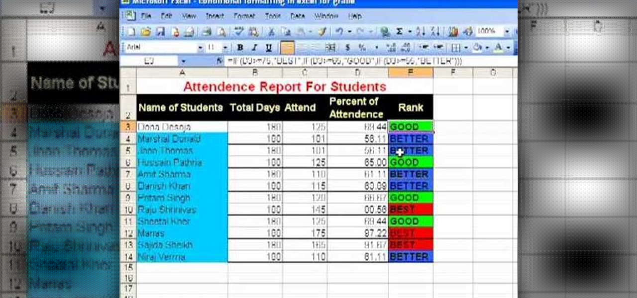 How to Use conditional formatting for a student attendance report in