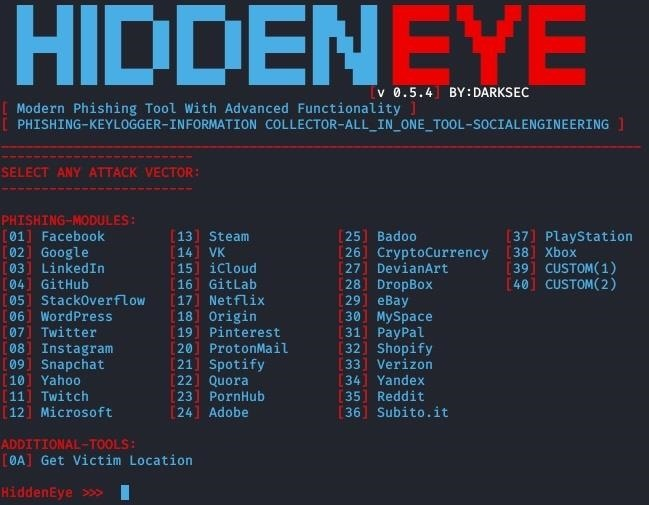 Phish with HiddenEye - A tool with Advanced Feature