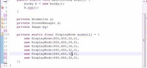 Create an array of display modes when Java programming
