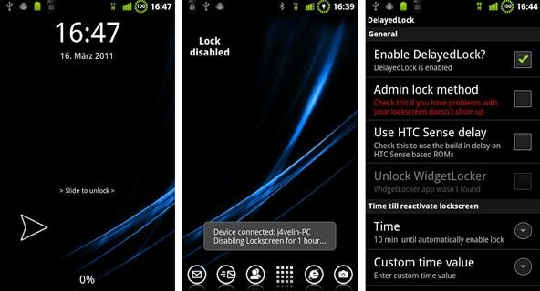 Temporarily Disable Android Lockscreens with DelayedLock App