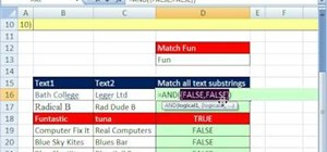 Match text substrings with an array formula in Excel