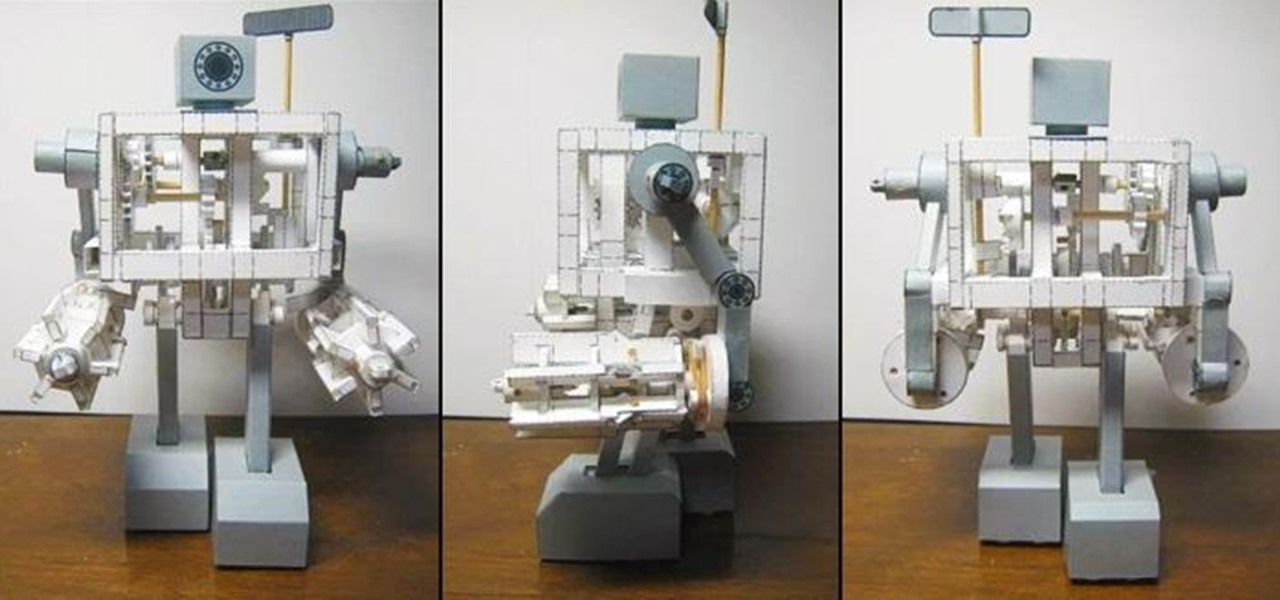 This DIY Walking Paper Robot Shoots Rubber Bands from Its High-Powered Gatling Gun Arms