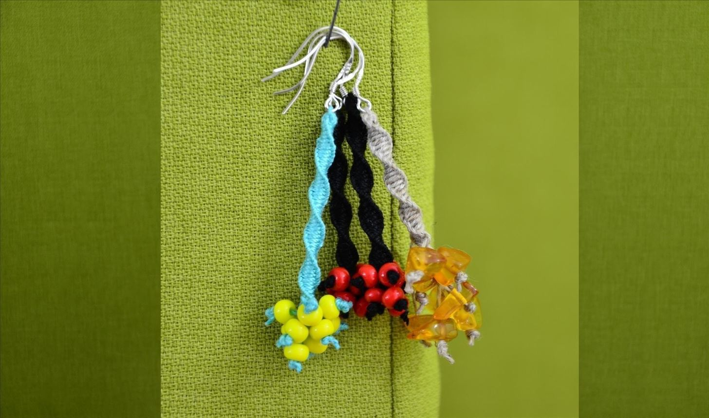 How to Make Macrame Earrings with Beads