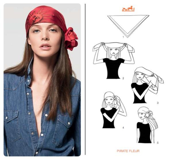 How to Knot a Herms Scarf in 21 Different Ways Head Scarves How To Wear Different Types