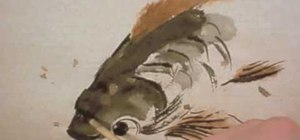 Paint little brown trout with Chinese brush strokes