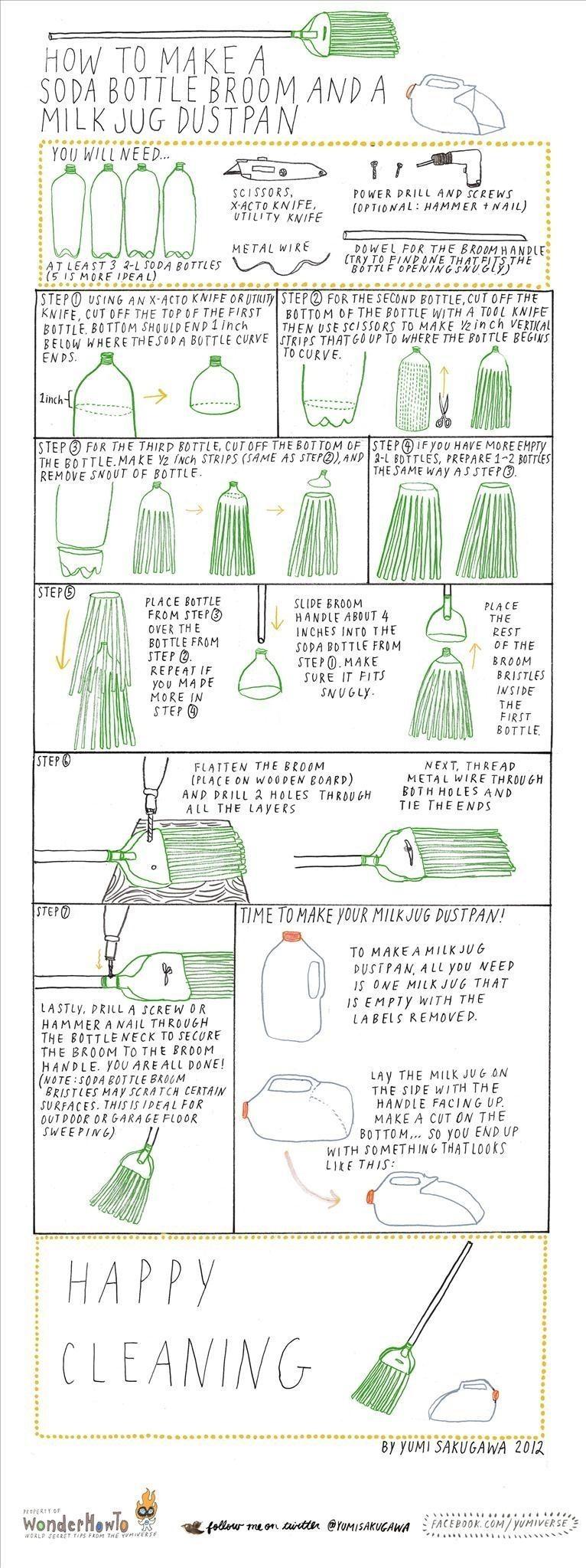 How to Make a Soda Bottle Broom and Milk Jug Dustpan