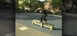 Perform a 50-50 backside on a street skateboard