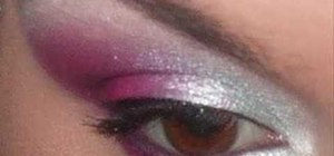 Apply hot pink and silver eyeshadow