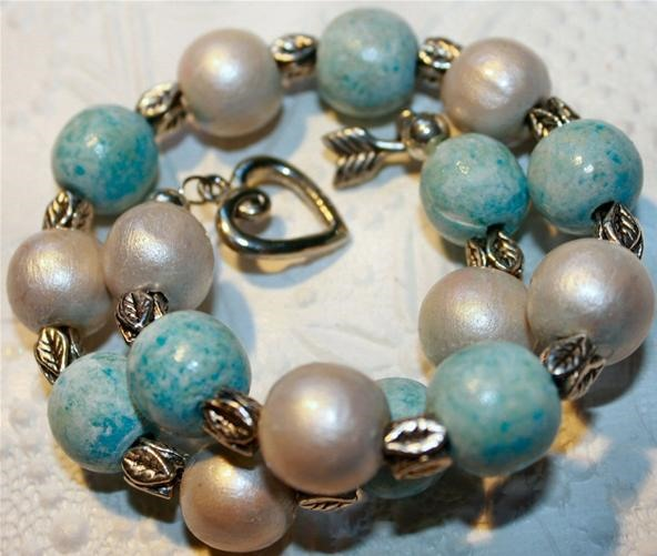 Robin's Eggs & Wood Pearls Bracelet