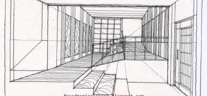 Draw an architectural sectional interior with a vanishing point