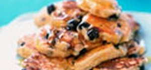Make delicious blueberry pancakes for breakfast