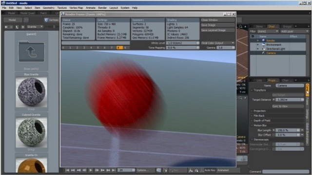 Create realistic motion blur effects in modo 401
