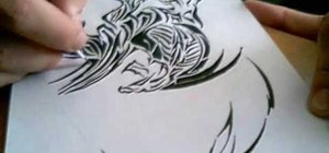 Draw a tribal style dragon