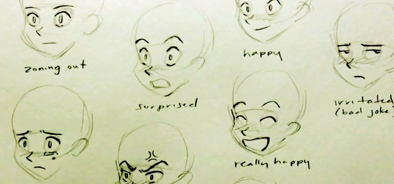 How To Draw Multiple Manga Facial Expressions Drawing Illustration WonderHowTo
