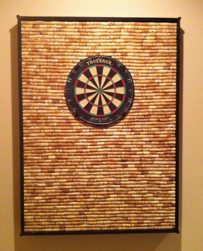 Protect Your Wall from Stray Darts with This DIY Dartboard Cabinet Made of Wine Corks