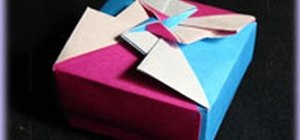 Fold a geometric origami gift box with an abstract design