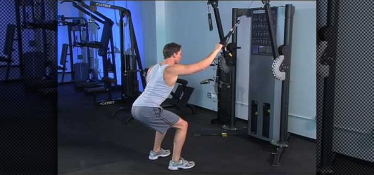 How To Hold A Squat And Do A Single Cable Wide Pull Down