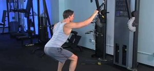 Hold a squat  and do a single cable wide pull down