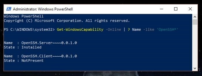 How to Enable the fresh Native SSH Client on Windows 10