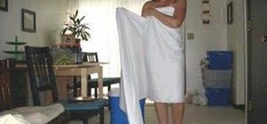 Make a toga out of a sheet for a female