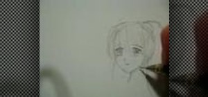 Draw an female anime face in 3/4