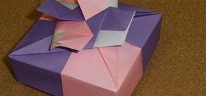 Fold a square gift box with floral ornament