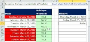 Use special formatting for weekends/holidays in Excel