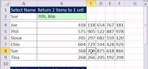Look up and return two values to one cell in Microsoft Excel