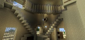 M. C. Escher's Gravity Defying Relativity Illusion Recreated in Minecraft
