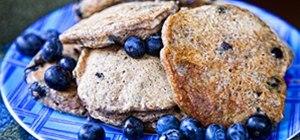 Making Low Fat Blueberry Pancakes