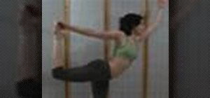Do a yoga dancer's pose with and without a yoga strap