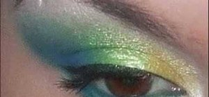 Apply yellow, green and blue eyeshadow